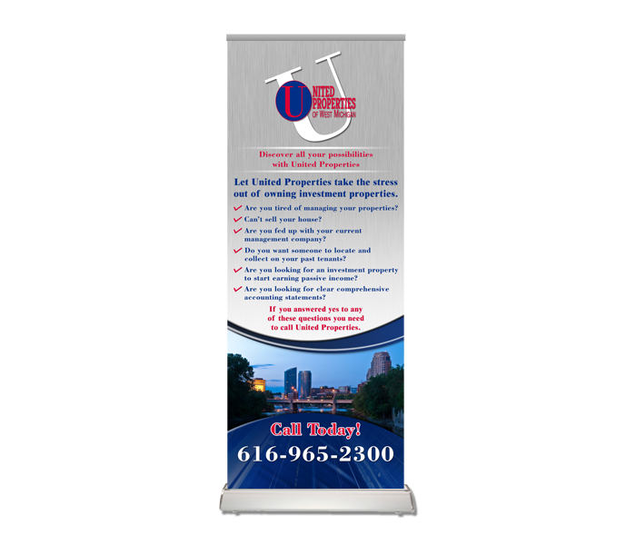 united properties banner stand